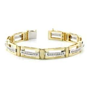 14k TWO TONE GOLD MENS BRACELET MB 1119TT DIAMOND 0.75CT
