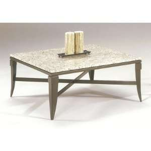 Square Contemporary Cocktail Table Granite Top Color Impala, Metal