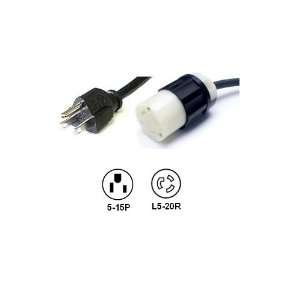 Foot NEMA 5 15P to Locking L5 20R Power Cord Plug Adapter   15A/125V