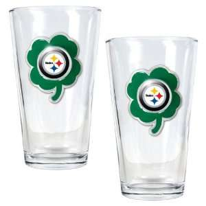 NFL Pittsburgh Steelers St. Patricks Day 2pc Pint Glass Set