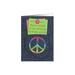 Birthday Party Invitations 16 Peace Sign Denim Card Toys & Games