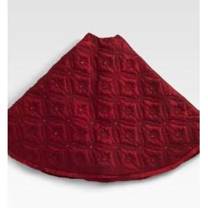 Red Silk Quilted & Beaded Christmas Tree Skirt