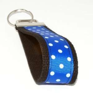 Royal Blue White Dots 6   Black   Keychain Key Fob Ring