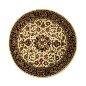 Handmade Ivory and Navy Wool Round Area Rug, 6 Feet