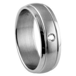 Stainless Steel Ring with Design   Clear CZ   Face and Band Width 8mm