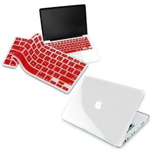 Red Keyboard Silicone Cover Skin + Clear Hard Shell Case