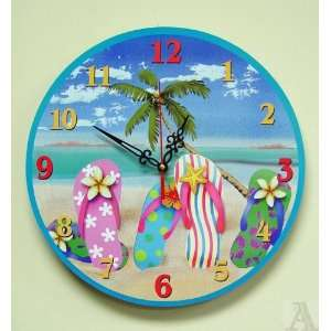 Flop Sandals Beach Ocean Wave Wall Clock