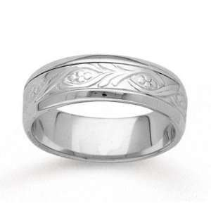 14k White Gold Classy Elegance Hand Carved Wedding Band Jewelry