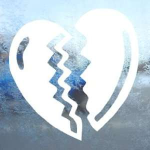Broken Heart White Decal Car Laptop Window Vinyl White