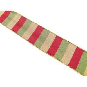 Christmas Holiday Wedding Red/Green/Gold Stripe Ribbon 2.5 x 60 Yards