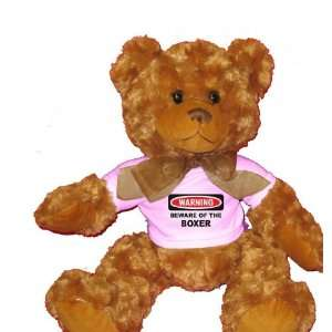 BEWARE OF THE BOXER Plush Teddy Bear with WHITE T Shirt Toys & Games