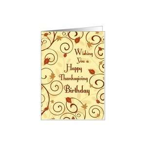 Thanksgiving Happy Birthday Card   Fall Leaves Card