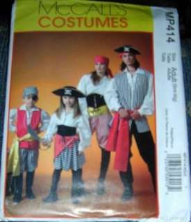 Mens & Womens Pirate Costume Patterns S M L XL