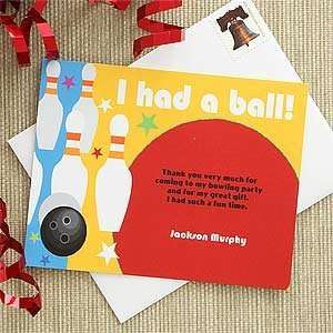 Personalized Bowling Thank You Note Cards Health