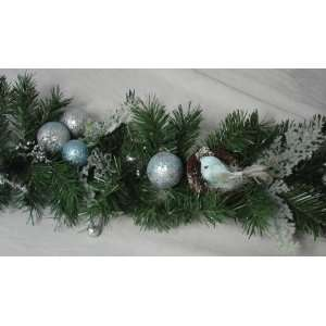 New   6 x 12 Tiffany Iced Blue Pre Decorated Artificial Christmas