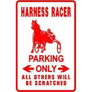 HARNESS RACER PARKING sign * street horse