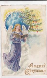 Christmas Angel Tree antique 1900s pretty old view postcard
