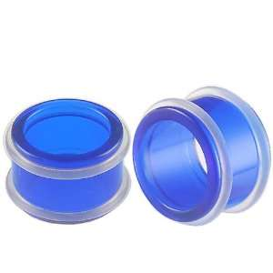 )   Blue Acrylic Flesh Tunnels Ear Gauge Plugs Earlets with Silicone